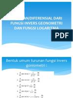 Pertemuan - 6 Diferencial Dari Fungsi Invers Geonometri Dan Fungsi Logaritma