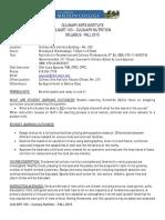Syllabus CA 103 Culinary Nutrition M.W. Section 0225