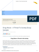 Drug Abuse - A Threat to Society, Essay Sample
