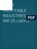 Most Profitable Industries in INR 25 Lacs - USD 30000