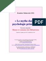 MALINOWSKI Bronislaw Le Mythe Dans La Psychologie Primitive