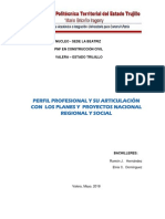 Trabajoperfil Profesional y Su Articulación Con Los Planes y Proyectos Nacional Regional, y Social.