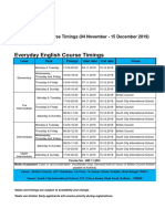 Kolkata Teaching Centre - Class Timings - Term 4 4 November to 15 December Adult Learners (1)