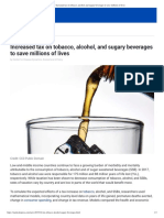 Increased Tax on Tobacco, Alcohol, And Sugary Beverages to Save Millions of Lives