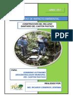 Borrador Del Estudio de Impacto Ambiental Proyecto Construccion Relleno Sanitario Canton Pastaza