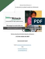 Síntesis semanal de noticias más relevantes del sistema educativo michoacano al 14 de octubre de 2019