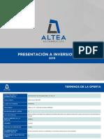 20 ANEXO T AlteaCK_Presentación a Inversionistas