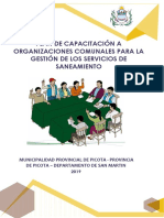Plan de Capacitación a Organizaciones Comunales Para La Gestión de Los Servicios de Saneamiento