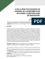 Transformaciones en la práctica docente en la enseñanza de las matemáticas aplicando la metodología de indagación.