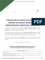 ▷ Cálculo de la matriz inversa por Gauss y por Determinantes. Ejercicios_