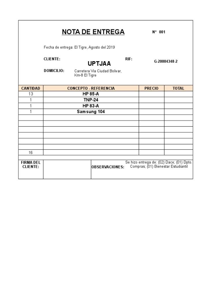 Modelo Nota De Entrega Excel