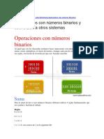 Operaciones con números binarios y conversión a otros sistemas
