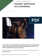 Declaran Al Cuarteto Patrimonio Cultural de Los Cordobeses
