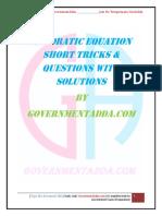 Quadratic Equation PDF by Governmentadda.com
