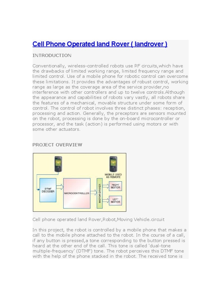 Cell Phone Operated Land Rover Microcontroller Computer Hardware Dtmf Based Robo Car Design Circuit Using 8051