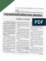 Balita, Oct. 15, 2019, 5-day mental health wellness leave, ipinanukala.pdf