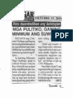 Bulgar, Oct. 15, 2019,Para maintindihan ang kahirapan  Mga pulitiko, gawing minimum ang suweldo.pdf