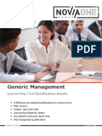 Generic Management NQF5 Programme or Learnership 2017