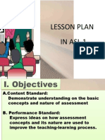 Lesson Plan in Basic Concepts and Nature of Assessment 2019
