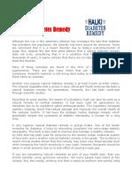 A Natural Diabetes Remedy