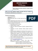 Presentación de los CV para aspirantes a cargos docentes del IECV