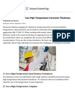 Tips for Conducting UT Thickness Measurements on Hot Equipment