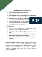 Lowongan Junior Formulator Pt Cmk Juni 2019
