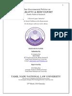 Indian Governmental Policies on JALLIKATTU & BEEF EXPORT