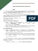 (Cooperative) BOD and Secretary Certificate