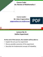 Lecture 21 - Define Experiment