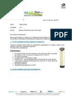 Cotización para una planta de agua de mesa