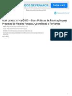 Guia Da RDC Nº 48_2013 - Boas Práticas de Fabricação Para Produtos de Higiene Pessoal, Cosméticos e Perfumes - Farmaceuticas