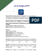 Nuevo Horario de Trabajo LOTTT Venezuela