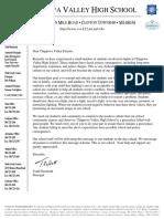 Letter to CVHS parents