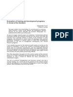 Evaluation of Training and Development Programs -A Review of the Literature