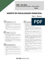 Fgv 2019 Prefeitura de Salvador Ba Agente de Fiscalizacao Municipal Prova