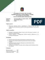 Programa Economía Política de américa Latina. Universidad Nacional de Colombia.Maestría en estudios políticos latinoamericanos.