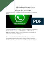 Usuarios de WhatsApp Ahora Podrán Decidir La Participación en Grupos