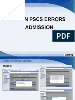 Common Pscs Error-Admissions