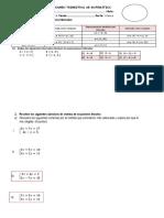 Examen Bimestral de Matematica 4to - III Bimestre