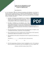 Certificate of Amendment of AOI