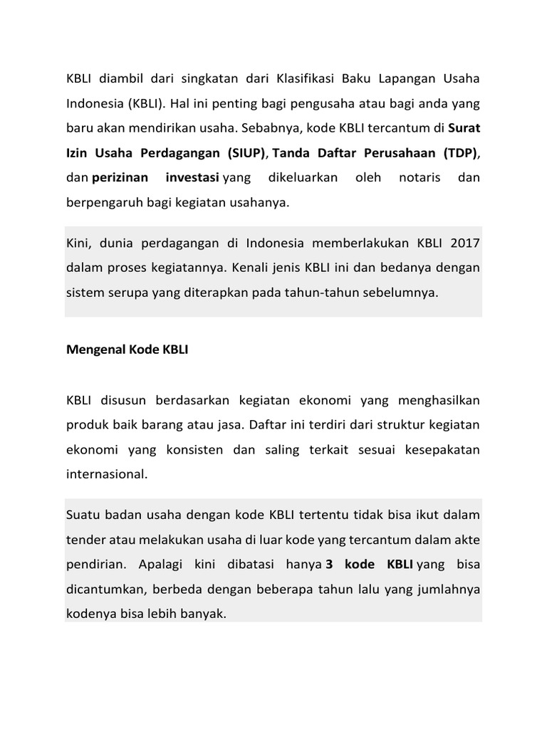 Kbli Diambil Dari Singkatan Dari Klasifikasi Baku Lapangan Usaha Indonesia