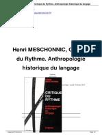 Henri MESCHONNIC Critique Du a1479