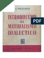 Thalheimer, August - Introduccion Al Materialismo Dialectico