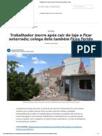 Notícia morte por acidente Obra Curitiba