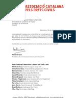 Carta de l'Associació Catalana pels Drets Civils a Pedro Sánchez