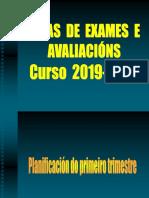 Datas de exames e avaliacións