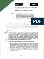 RESOLUCION N°2179-2019-TCE-S1 (APLICACION SANCION)