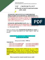 Anunt Pentru Plata Taxei 2019-2020