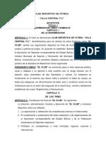 Estatutos Club Deportivo Futbol Villa Central f.c